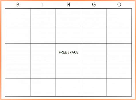 Free Blank Bingo Card Template Word Microsoft Word Bingo Template