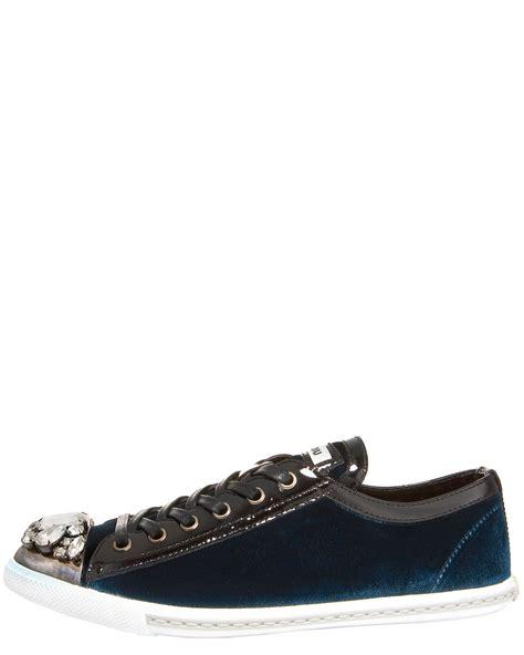 miu miu velvet sneakers miu miu toe velvet sneaker in blue aqua lyst