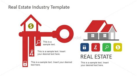 real estate sign template key dollar sign and house icons for real estate slidemodel