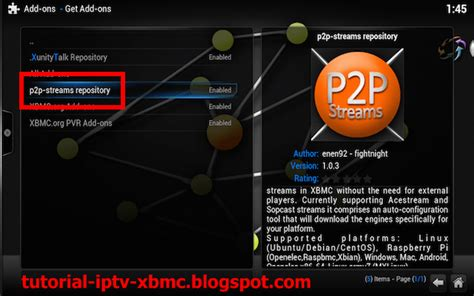 python tutorial xbmc install and configure p2p streams add on for xbmc kodi