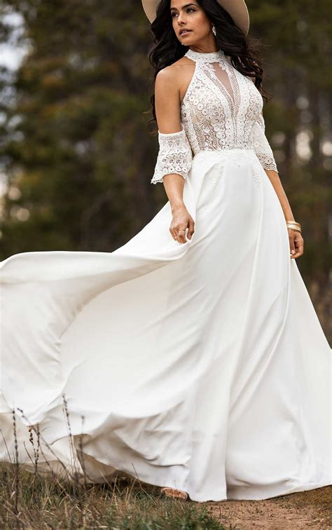 simple bohemian wedding dress  removable arm cuffs