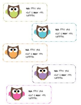 owl miss you card template end of year gift owl miss you by ms joly teachers pay