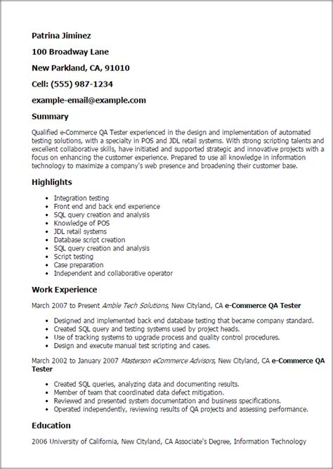Pos Tester Cover Letter by Professional Ecommerce Qa Tester Templates To Showcase Your Talent Myperfectresume
