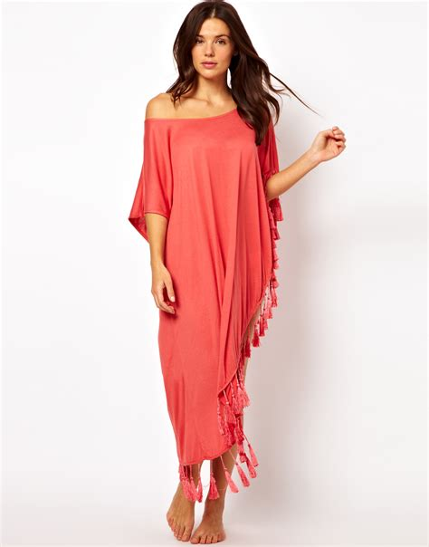 kaftan one soulder manset minkpink one shoulder tassel kaftan in lyst