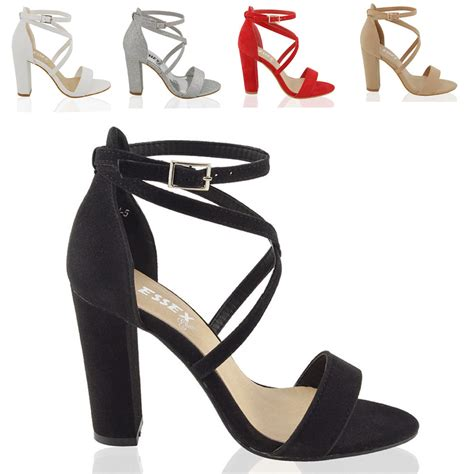 high block heel shoes womens strappy block high heel peeptoe cut out