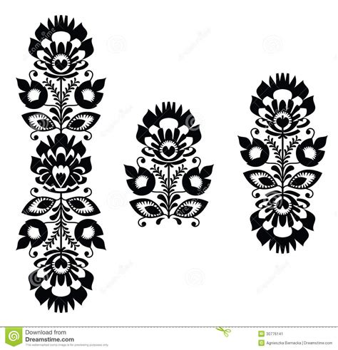 black and white embroidery patterns folk embroidery floral traditional polish pattern in