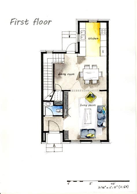 real estate floor plan real estate watercolor 2d floor plans part 2 on behance