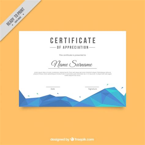 blue certificate template certificate template with geometric shapes in blue tones