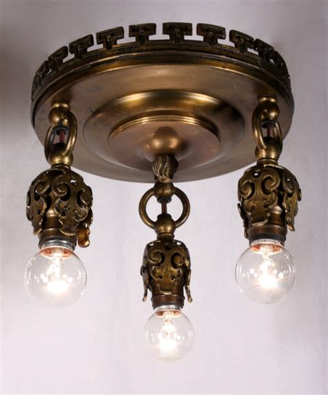 Antique Bronze Light Fixtures Four Matching Antique Neoclassical Three Light Flush Mount Light Fixtures Bronze C 1905