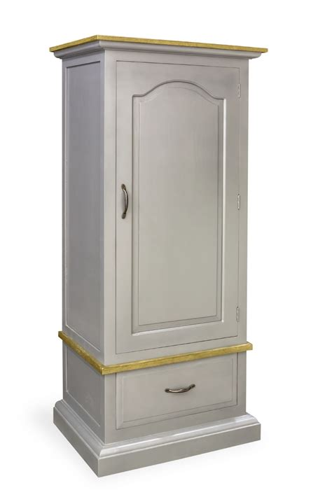 painted pine shabby chic storm grey single wardrobe