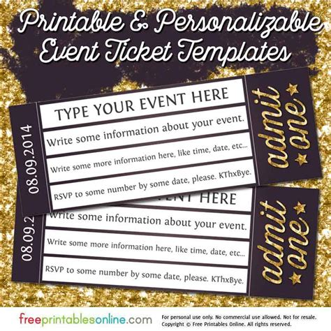 admit one gold event ticket template free printables