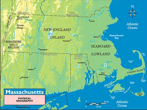 massachusetts physical map massachusetts physical geography map by maps from maps