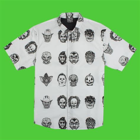 horror themed clothing uk ez maskacre button up daily dead