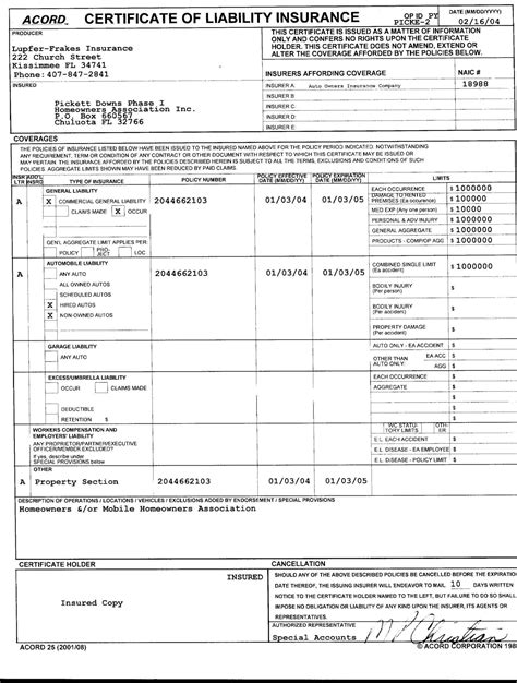 acord insurance certificate template certificate of liability insurance