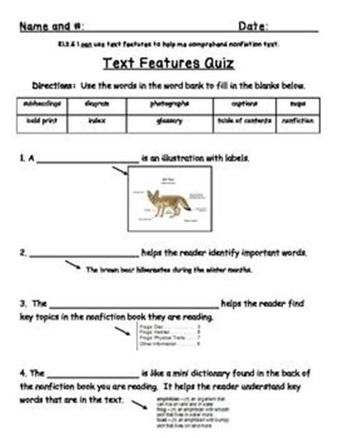Text Features Practice Worksheets by 1000 Ideas About Text Features On Nonfiction