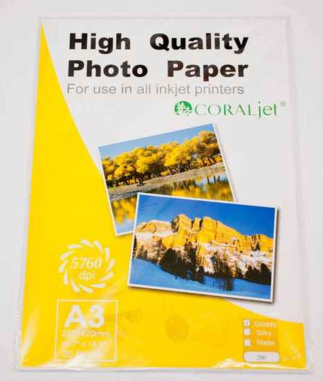 Coral Photo Paper A3 Glossy High Quality buy coraljet a3 glossy 200gsm photography paper pack 20 at computers