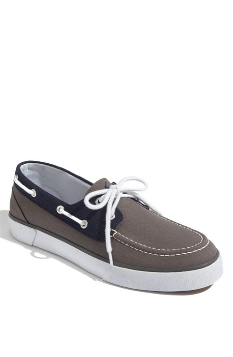 polo lander boat shoes polo ralph lauren lander boat shoe in blue for men grey
