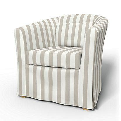 white armchair slipcover with blue piping products