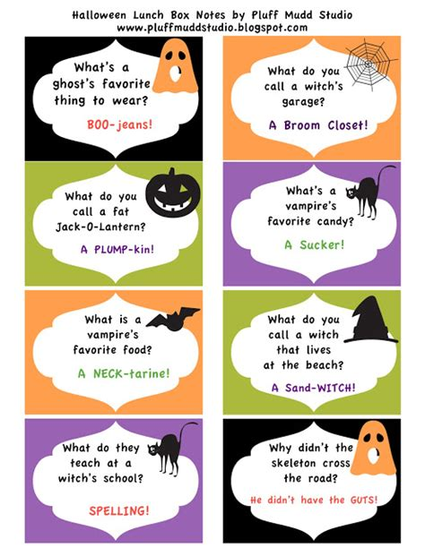 printable halloween jokes and riddles 7 best images of free halloween lunch box printables