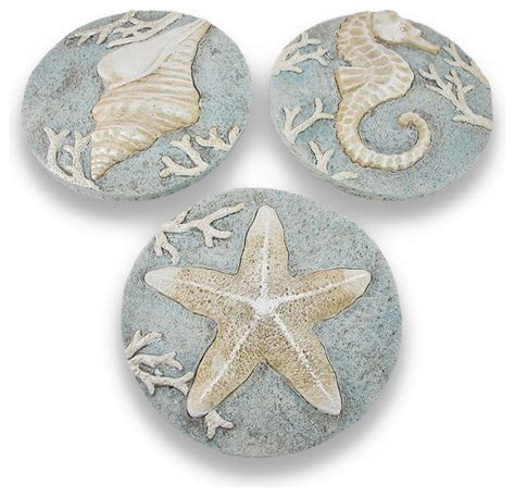 Decorative Home Accessories Set Of 3 Decorative Beach Themed Stepping Stones Wall
