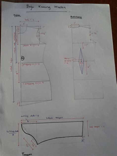 Pola Membuat Baju Hewan | pola lengan baju baju kurung pinterest