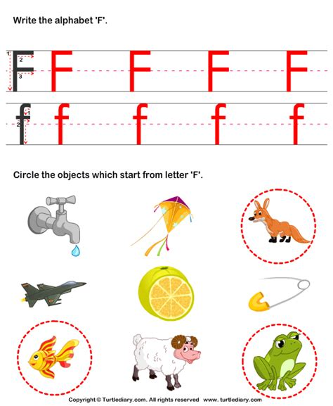 color that starts with f identify words that start with f worksheet turtle diary