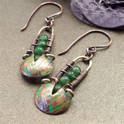 Handmade Metal Jewelry - wire wrapped handmade jewelry mixed metal earrings boho