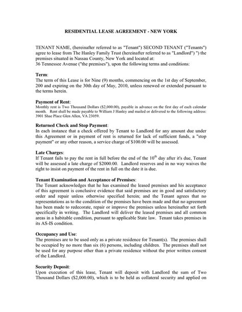 New York Residential Lease Agreement In Word And Pdf Formats Lease Template Ny