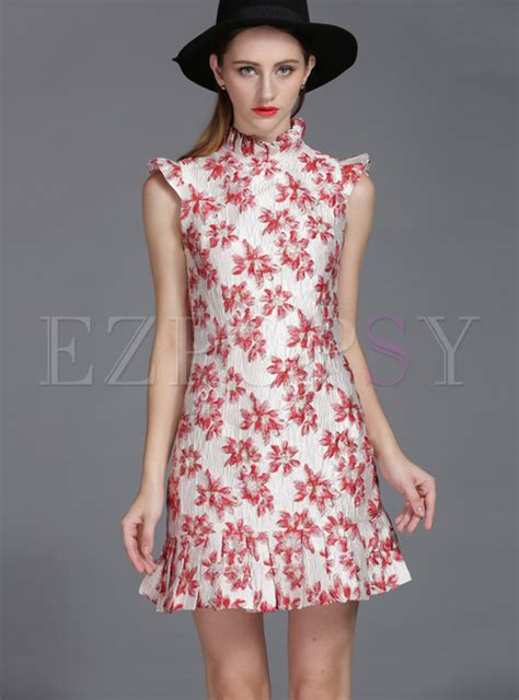 high end collars high end stand collar jacquard falbala bodycon dress ezpopsy