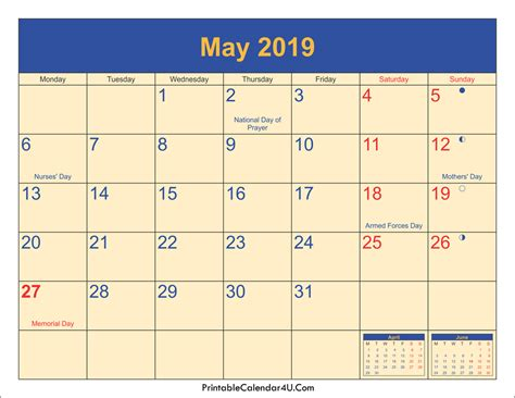 may 2019 calendar may 2019 calendar with holidays monthly printable calendar