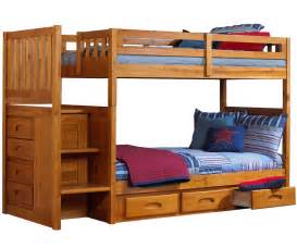 Bunk Bed With Staircase Ridgeline Honey Mission Staircase Bunk Bed Bed Frames Discovery World Furniture