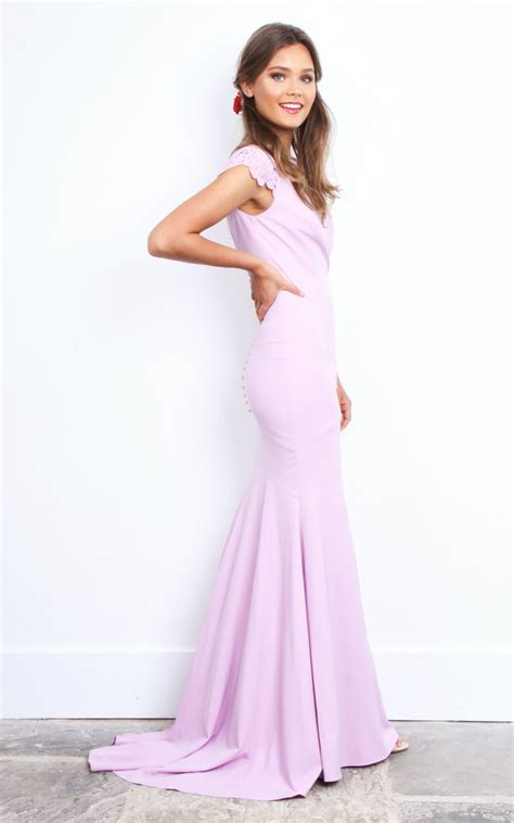 Sleeve Buttoned Maxi Dress lilac fishtail buttoned back maxi dress with lace sleeve