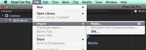 final cut pro new project media commons final cut pro importing media and