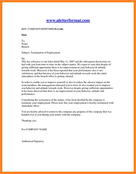 termination letter format for 11 employment termination notice sle notice letter