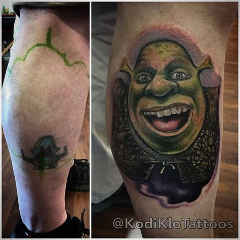 shrek tattoo kodiklo shrek coverup coverup disney toledo ohio
