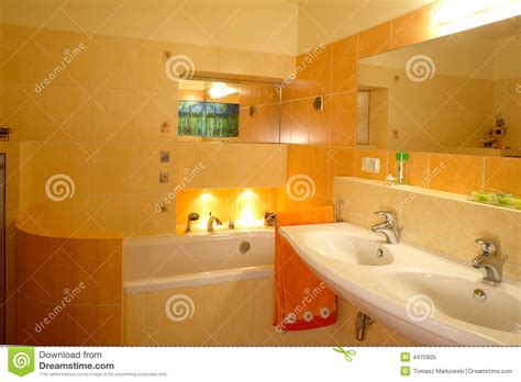 orange bathtub orange bathroom interior royalty free stock photo image