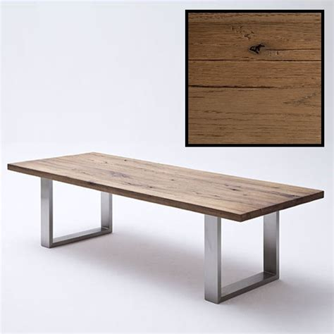 capello oak dining table with stainless steel legs 180c