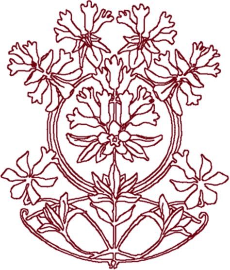 design center embroidery redwork flower circle center embroidery design