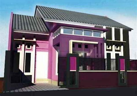 perpaduan warna cat rumah ungu minimalis tampak depan