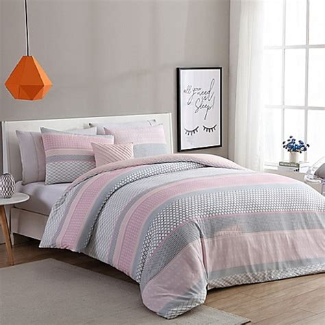 gray and pink bedding vcny home stockholm comforter set in pink grey bed bath
