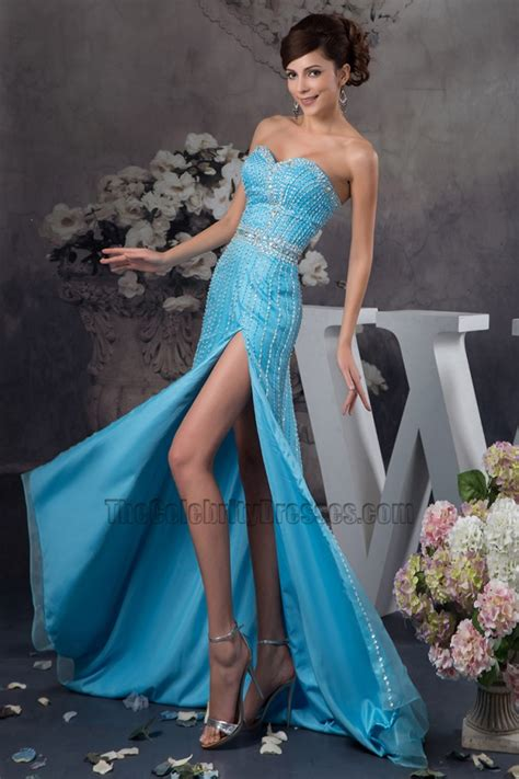 beadwork gown blue sweetheart strapless formal dress prom gown with