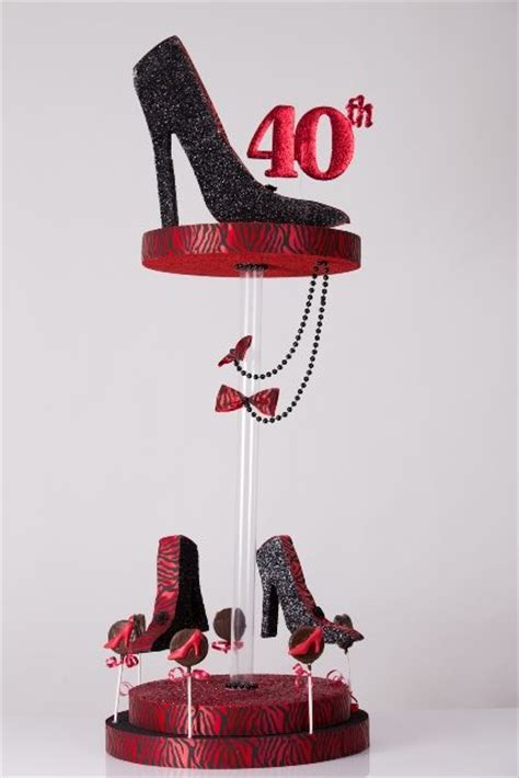 40th glittered high heel shoe centerpiece centerpieces