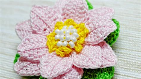 crochet lotus flower pattern how to make a crocheted lotus flower brooch diy