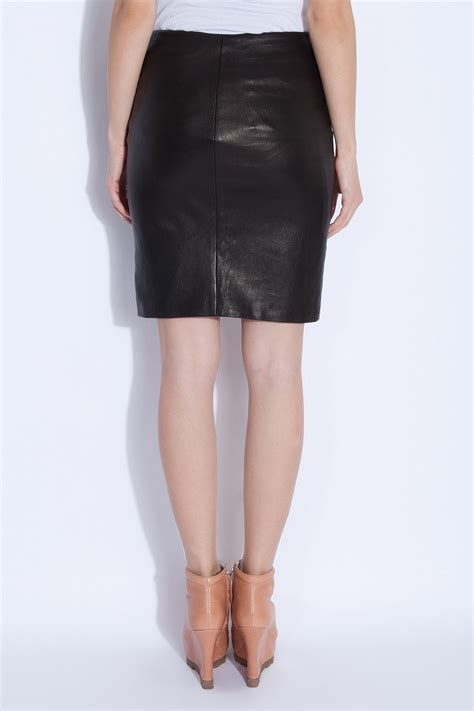 the row leather pencil skirt in black lyst