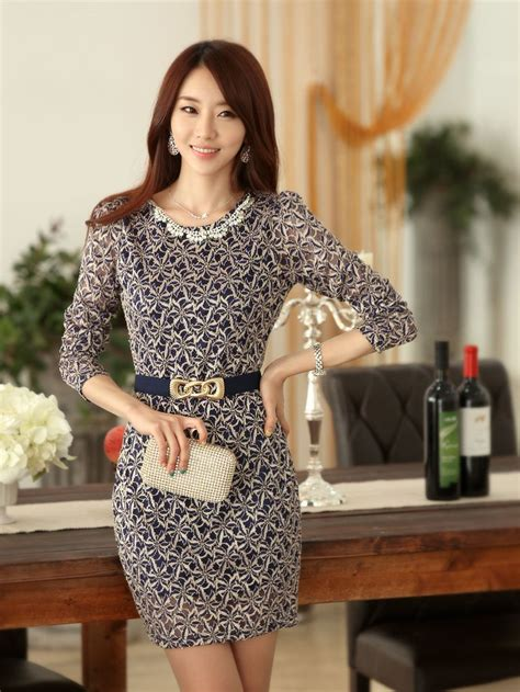 fashion studded lace dress with belt