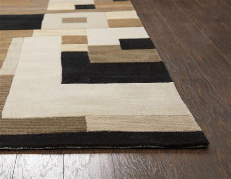 Brown Runner Rug Craft Abstract Block Pattern Wool Runner Rug In Brown Beige Black 2 6 Quot X 8