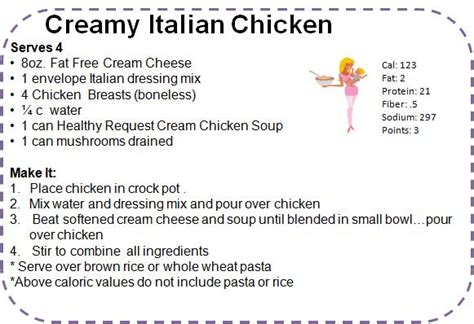 printable italian recipes creamy italian chicken