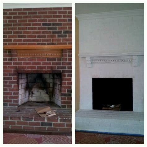 Before and after diy fireplace brick paint white   DIY and