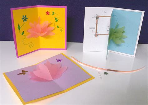 lotus pop up card template paper circuit lotus pop up card sparkfun guide and