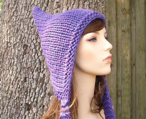 pixie hat knitting pattern free knit hat womens hat purple pixie hat violet purple knit